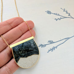 Large Concrete And Resin Moonscape Necklace