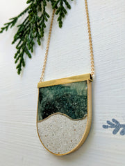 Brass Concrete and Resin Moonscape with Gold Plated Chain