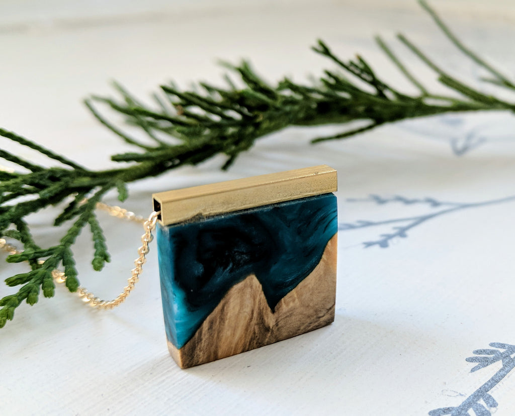 Mini Wood and Blue Resin Necklace with Brass Bar
