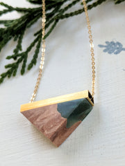 Mini Wood and Green Resin Necklace