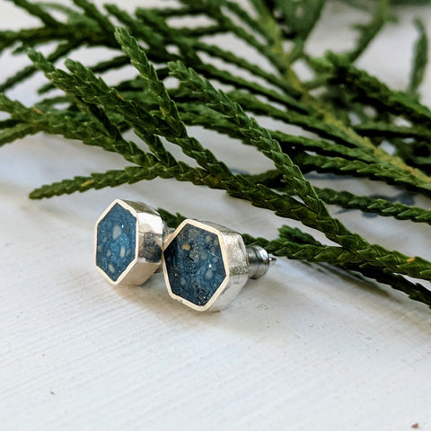 Sterling Silver and Blue Resin Stud Earrings