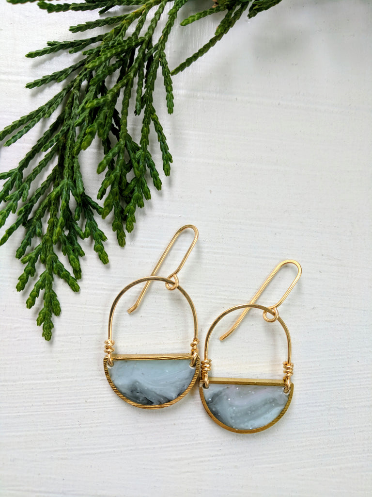 Looped Blue Resin and Brass Half Moon Dangle Earrings