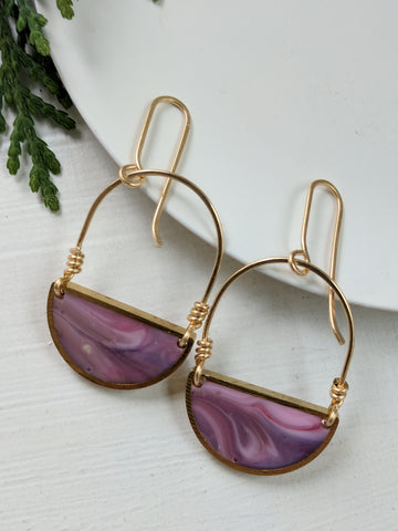 Looped Purple and Pink Resin and Brass Half Moon Earrings