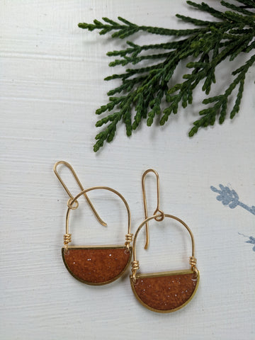 Looped Brass and Orange Resin Half Moon Earrings