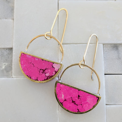 Pink Coral Landscape Half Moon Earrings