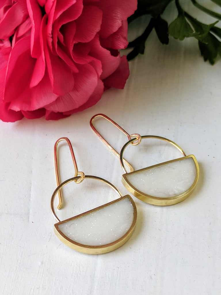 Sparkling White Resin and Brass Half Moon Earrings