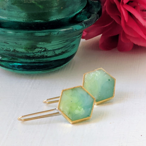 Hexagon Brass with Swirling Green and Blue Resin Earrings