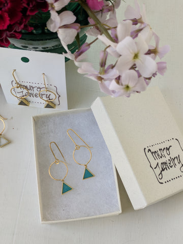 Mini Triangle Brass And Resin Earrings
