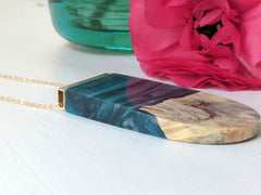 Foggy Night Wood and Swirled Blue Resin Necklace