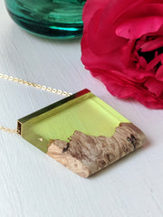 Just Another Green Day Wood and Resin Landscape Necklace