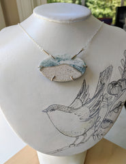 Beach Scene Necklace. Sterling Silver