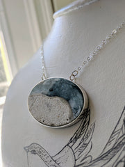 Beach Scene Necklace. Open Back Bezel Setting, Sterling Silver