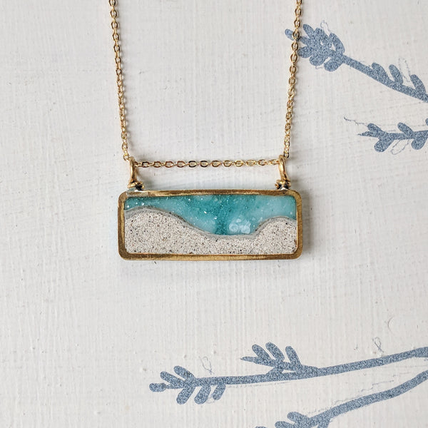 Mini Beach Scene Brass and Resin Necklace