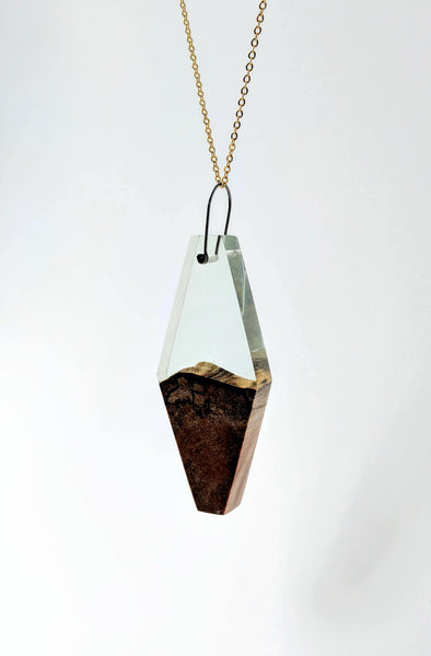 Geometric Wood and Clear Sea Glass Resin Necklace