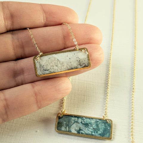 """Mini Marble Slab"" Brass, Marbled Resin and Powdered Stones Necklace"