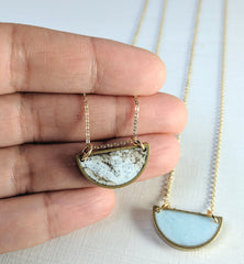 """Half Moon"" Marbled Resin and Brass Necklace"