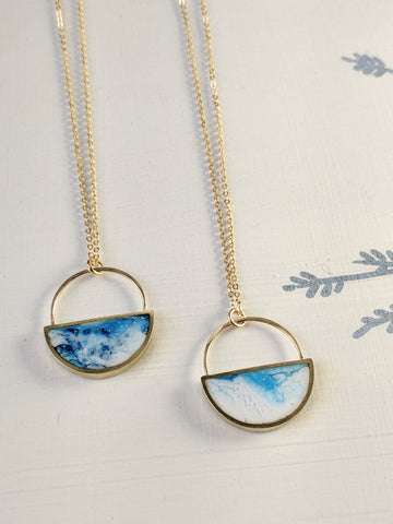 """More or Less Blue Skies"" Brass and Resin Half Moon Necklaces"