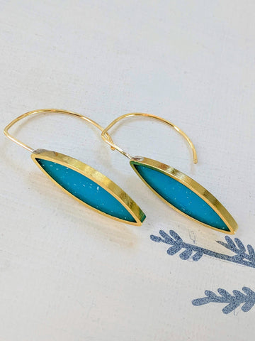 Neomodern Bright Blue Resin and Brass Marquis Earrings