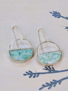 Cloudy Blue Sterling Silver Half-Moon Earrings