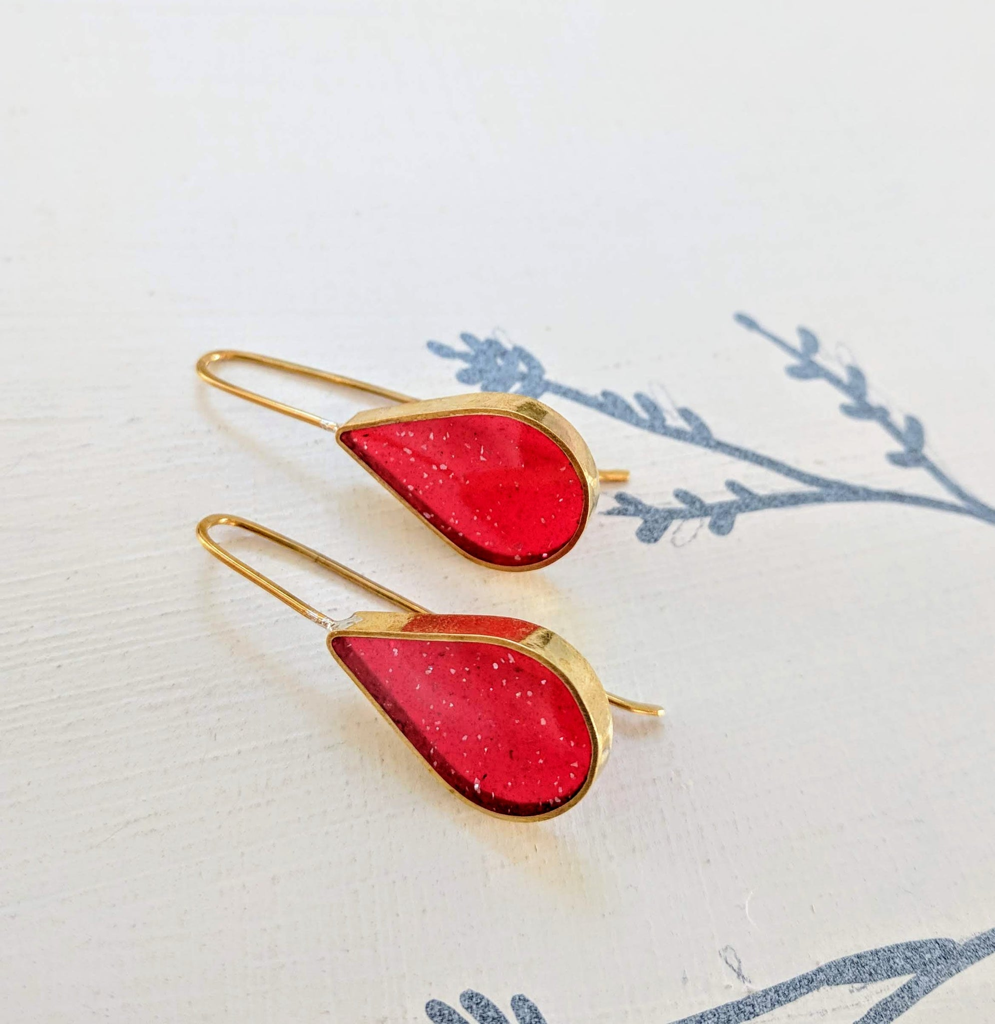 Candy Red Resin and Brass Teardrop Earrings