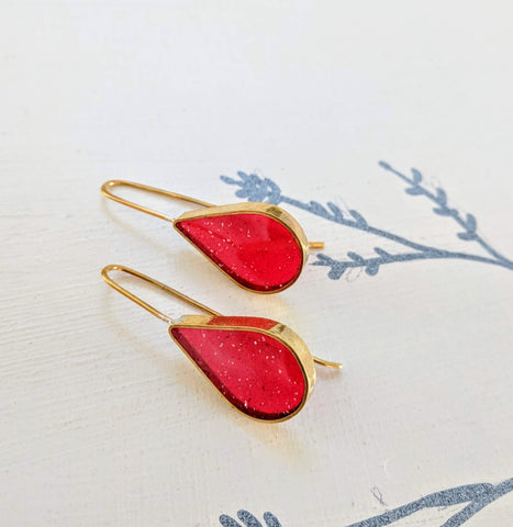 Bright Red Resin and Brass Teardrop Earrings
