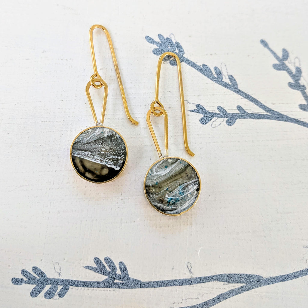 Marbled Resin and Brass Dangle Earrings