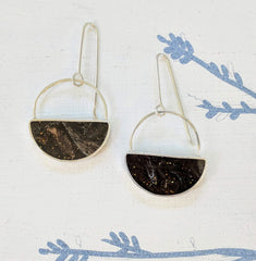 Dark Brown Sterling Silver Half-Moon Earrings