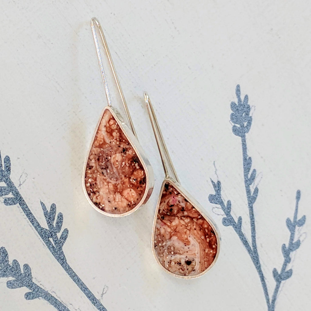 Marble Resin and Sterling Silver Teardrop Earrings
