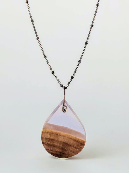 Amethyst Resin and Wood Teardrop Necklace
