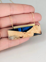 Wood and Royal Blue Resin Art Deco Necklace