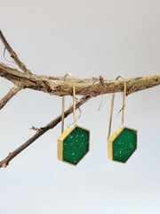 Spruce Green Resin and Brass Hexagon Earrings