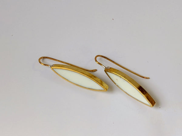 White Resin and Brass Marquis Earrings
