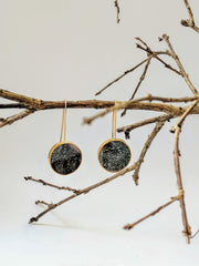 Night Sky Resin and Brass Circle Earrings