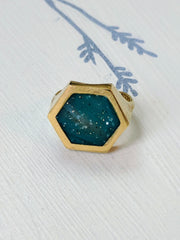 Turquoise Resin and Brass Adjustable Ring