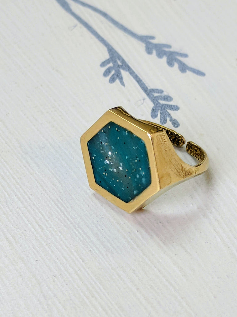 Dark Blue Resin and Brass Adjustable Ring