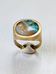 Swirling Blue and Tan Resin Adjustable Ring