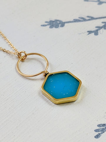 Blue Resin and Brass Looped Hexagon Necklace
