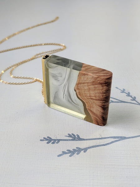 The Smoky's - Wood and Resin Landscape Necklace