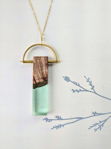 Art Deco Wood and Sea Glass Resin Necklace