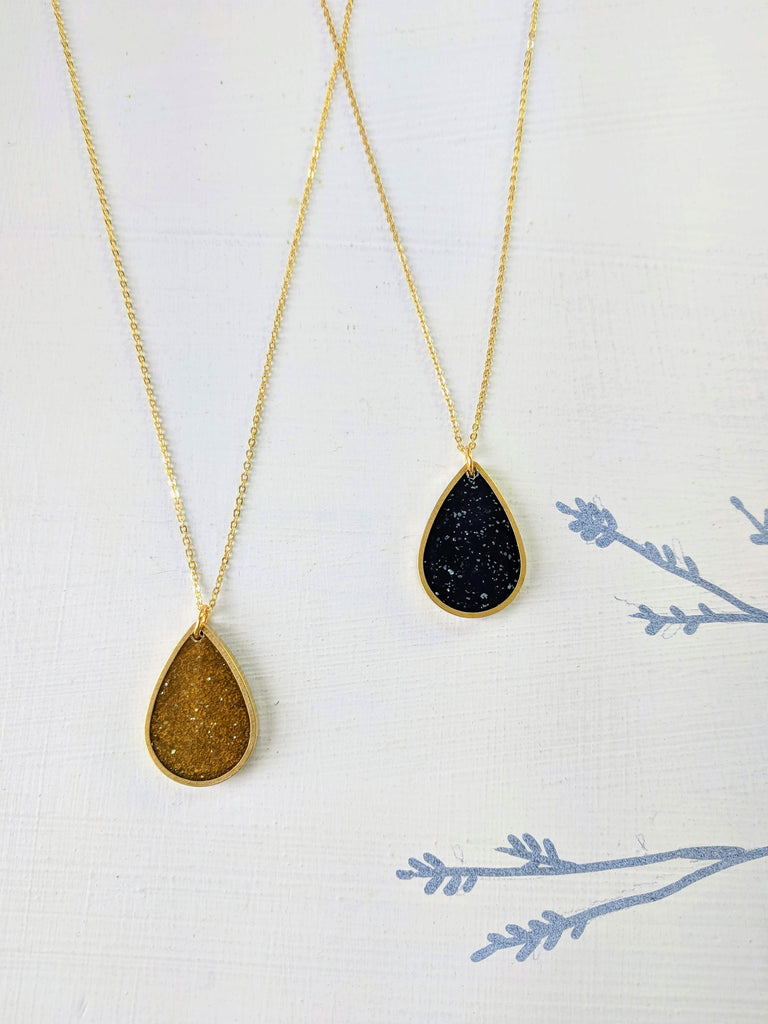 Champagne and Velvet Brass and Resin Teardrop Necklace