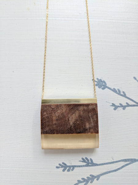 Orange Touch Resin and Wood Necklace