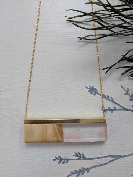 Pink Ribbons Resin and Wood Necklace