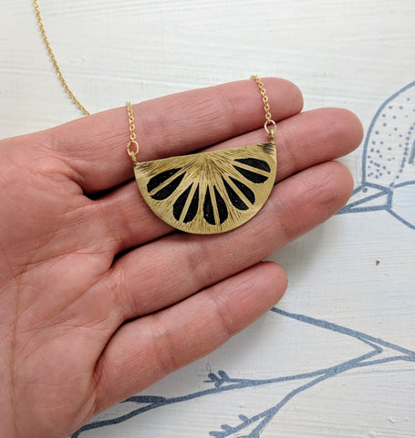 Petals Midnight Black Resin and Brass Necklace