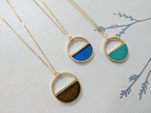 Colorful Brass and Resin Half Moon Necklaces