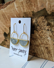 Half Moon Dangle Earrings, Grey Marbled Resin