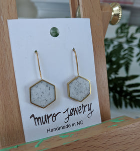 Vanilla Bean Hexagon Brass Earrings