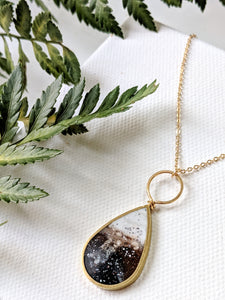 Brown Marbled Resin Brass Teardrop Necklace