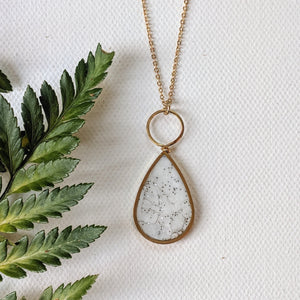 White Marbled Resin Brass Teardrop Necklace