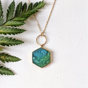 Blue and Green Hexagon Loop Pendant
