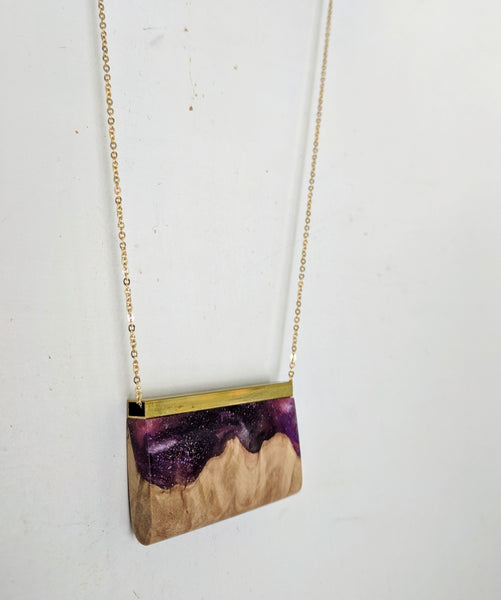 Nebula Wood and Resin Pendant